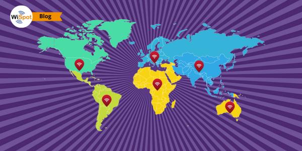 Mappa degli hotspot pubblici diffusi nel mondo.