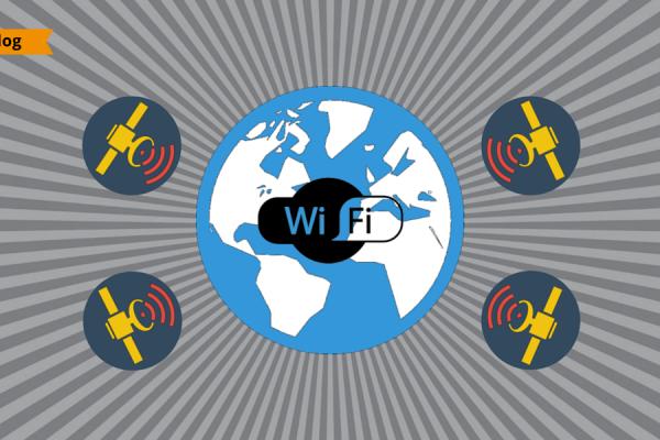 Illustrazione flat design della Terra circondata da satelliti che trasmettono il segnale internet pubblico