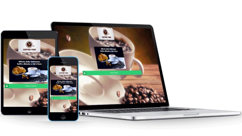 Un notebook, un tablet e uno smartphone che visualizzano la stessa pagina di benvenuto di WiSpot, adattata in base al tipo di dispositivo.