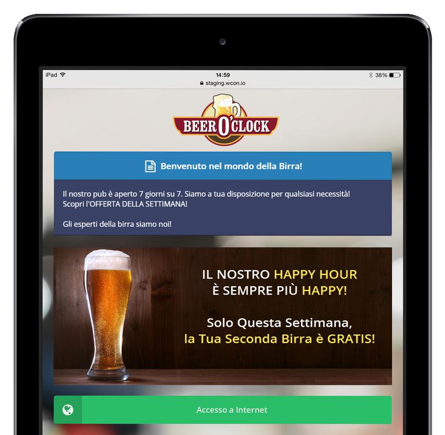 Immagine di una schermata di tablet iPad 2 raffigurante le offerte di un locale che fa marketing con il Wi Fi