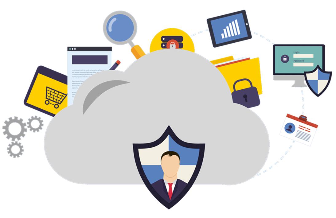 Immagine in flat design raffigurante alcune icone riferite alla sicurezza e al firewall.