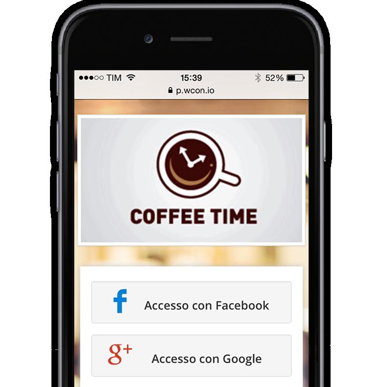 Immagine che illustra lo schermo di un iPhone 6 raffigurante i metodi di accesso con Social WiFi di WIspot