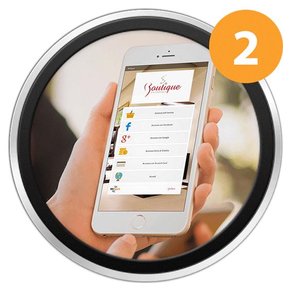 Immagine di uno smartphone connesso alla Portal Page dell'hotspot WiFi di una Boutique.