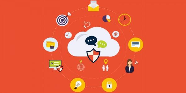 immagine flat che illustra alcune icone relative alla sicurezza su Internet.