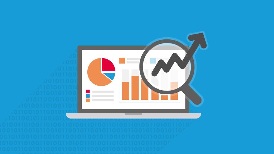 laptop con statistiche e analytics