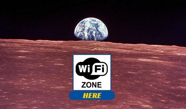Vista della Luna con il simbolo dell'hotspot Wi-Fi