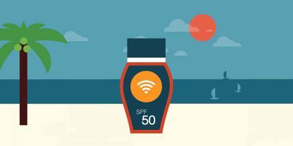Immagine flat raffigurante una crema solare con impresso il simbolo di un WiFi hotspot e il mare sullo sfondo.