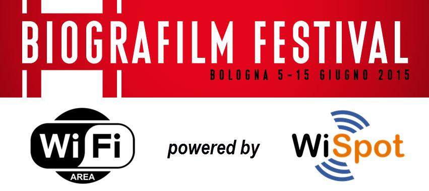 I loghi del Biografilm Festival 2015, del WiFi e di WiSpot.