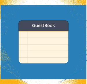"""Esagono contenente un bloc notes in formato flat design con sopra scritto """"GuestBook"""", il nome di una delle funzioni esclusive del miglior hotspot WiFi."""