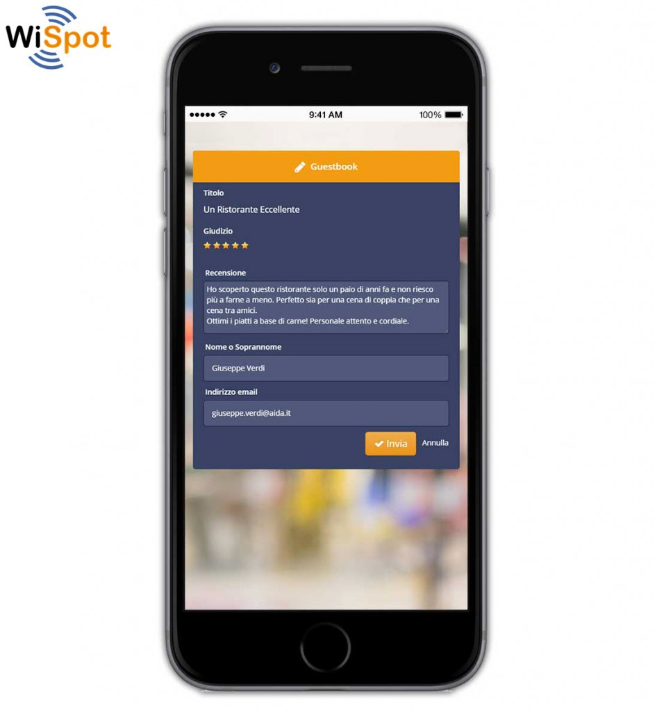 Smartphone su cui è visualizzato il widget GuestBook di un hotspot WIFi WiSpot con recensione.