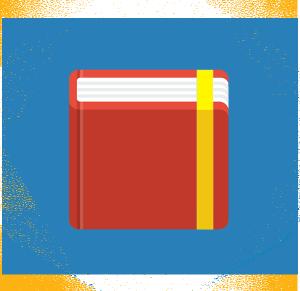 Esagono blu contenente un'agenda rossa in flat design