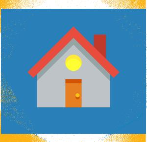 Esagono blu contenente un'icona di una casa disegnata in stile flat design.