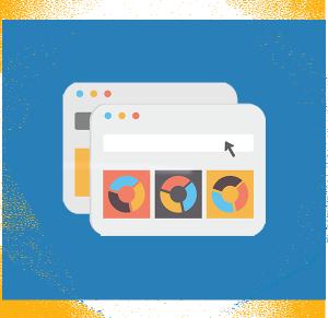 Esagono contenente due browser sovrapposti con visualizzate delle grafiche web.