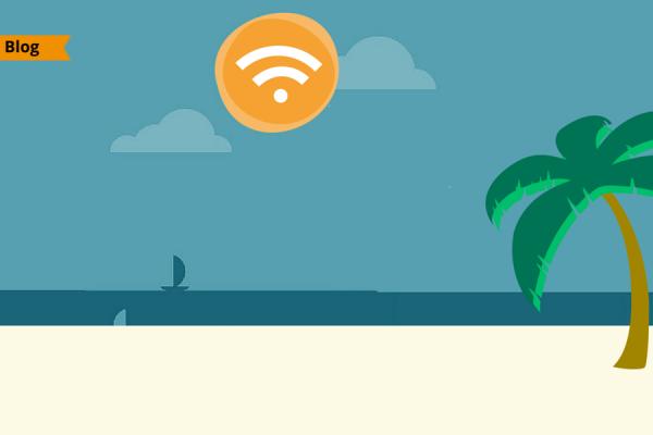 Una spiaggia con una palma e uil sole sullo sfondo contenente il simbolo del WiFi.