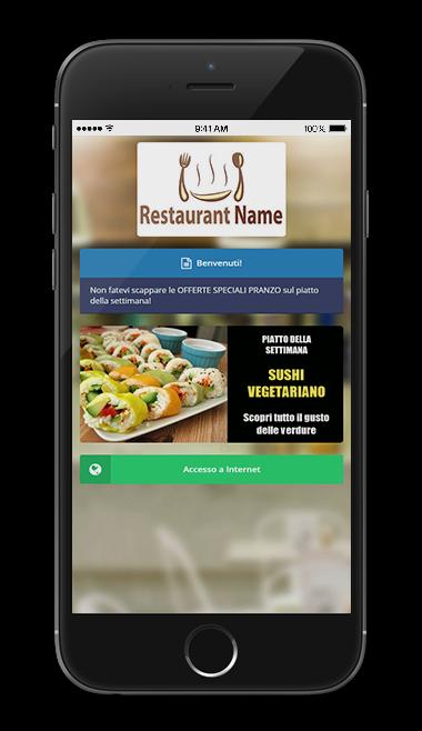 Smartphone con visualizzato il Guest Portal di WiSpot, l'hotspot WiFi per ristoranti, bar, pub e locali.