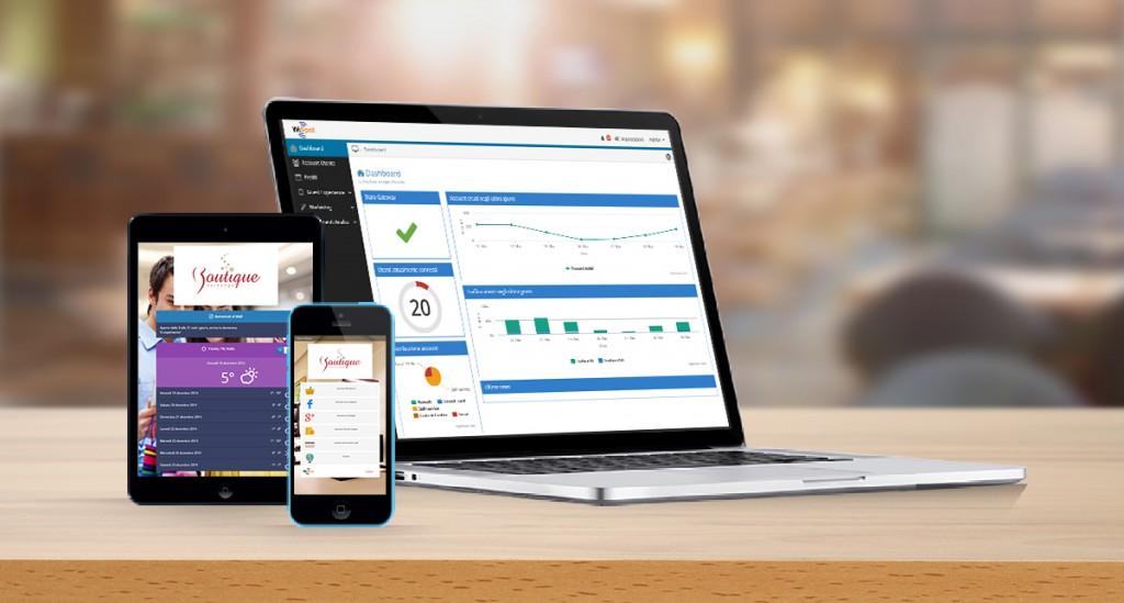 Il pannello di controllo del sistema WiFi WiSpot 3 visualizzato su 3 dispositivi differenti: tablet, smartphone e laptop.