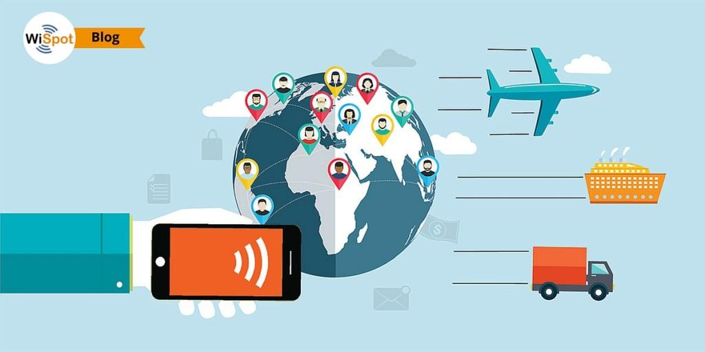 Immagine composta raffigurante la Terra vista dallo spazio e una mano con smartphone che effettua l'accesso a Internet tramite WiFi.