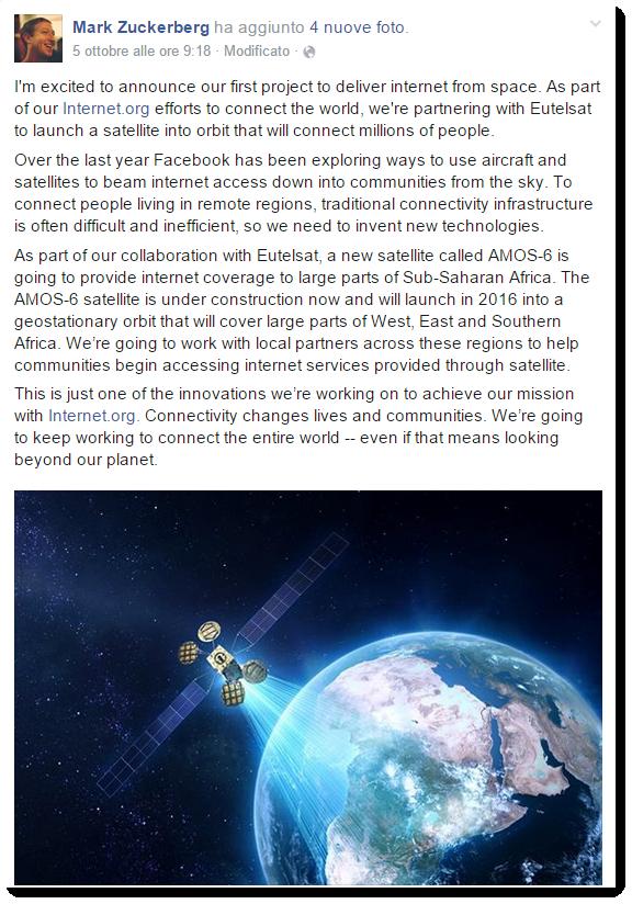 Screenshot del post su facebook pubblicato da Mark Zuckerberg nel quale annuncia il lancio nel 2016 di un satellite che fornirà accesso a Internet all'Africa meridionale.