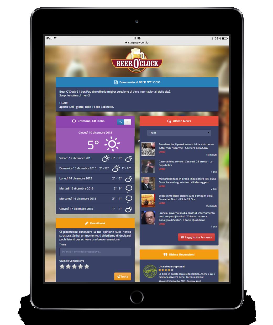 Il Guest Portal, la pagina di benvenuto di WiSpot, mostrata su un tablet.