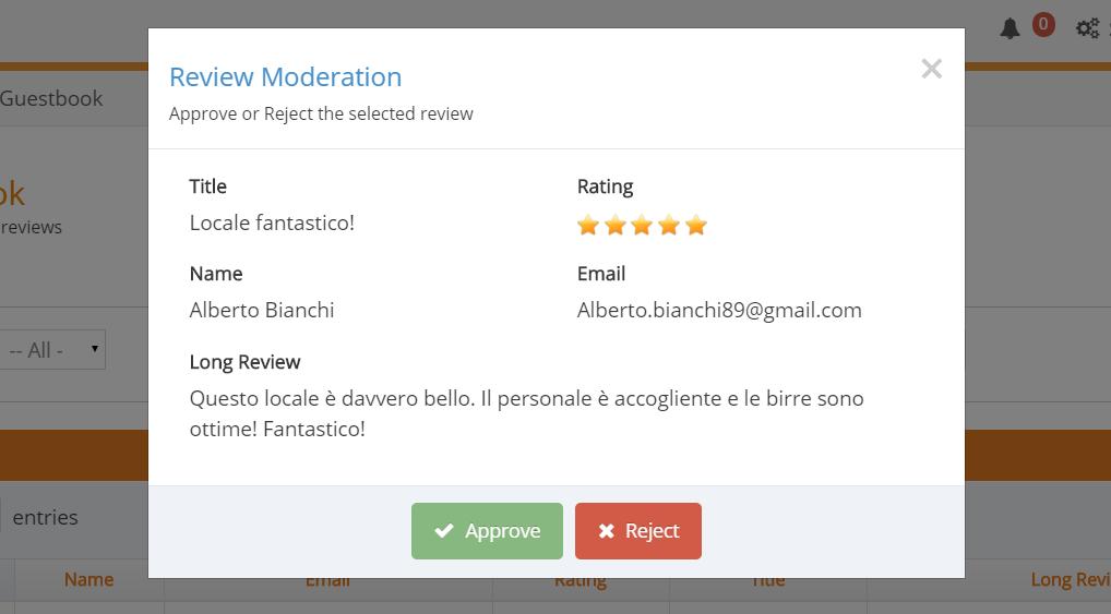 Screenshot di WiSpot che raffigura la schermata di approvazione delle recensioni dei clienti.