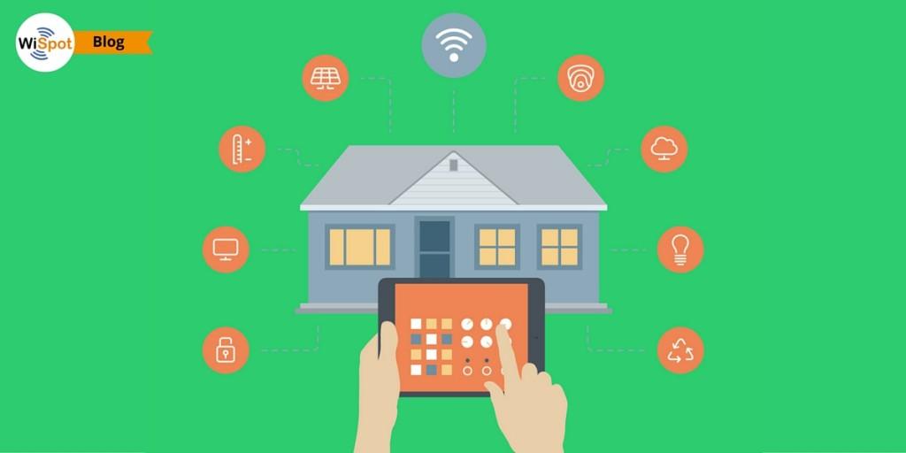 Immagine flat raffigurante l'esterno di una casa e un tablet che ne controlla i dispositivi smart tramite connessione WiFi.