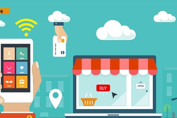 Immagine flat raffigurante uno smartphone connesso al WIFi, un laptop e un negozio con una città sullo sfondo.