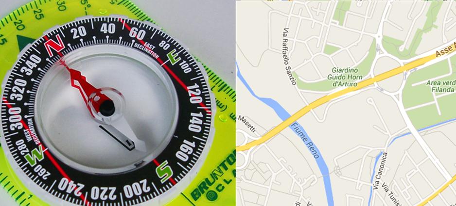 Una bussola e una cartina di Google.