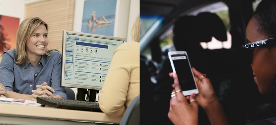 Una ragazza in un'agenzia turistica e una ragazza in taxi che consulta uno smartphoine.