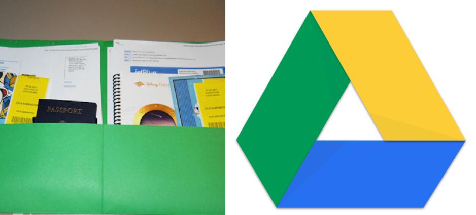 Una carpetta con documenti stampati e il logo di google drive.