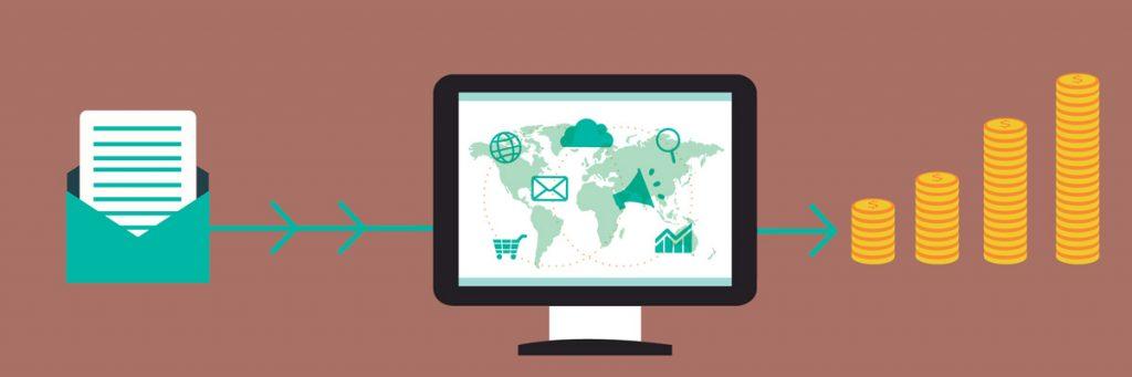 Una busta, un PC e delle monete collegati fra loro a simboleggiare il flusso dell'email marketing.