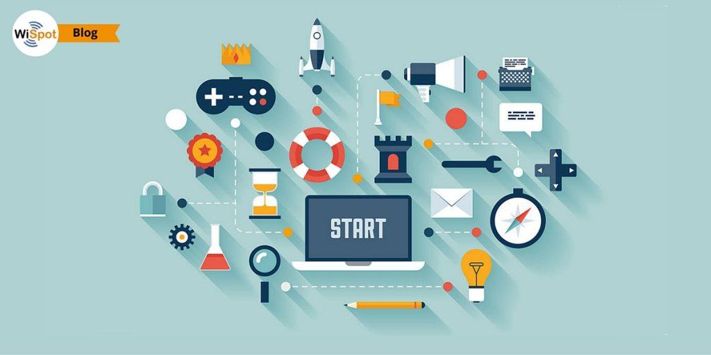 Collage di icone tecnologiche cimbolo del marketing di prossimità WiFi.