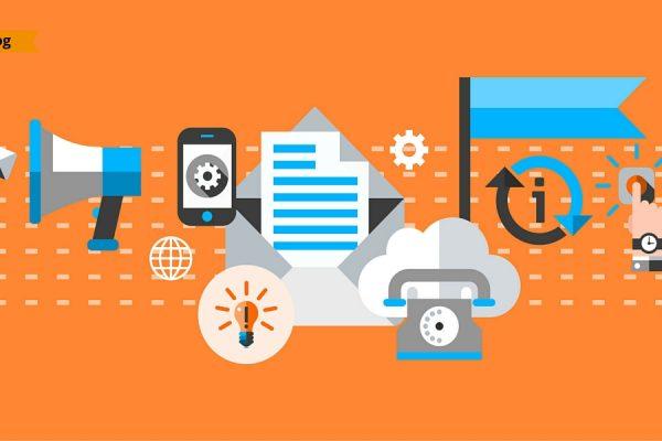 Icone relative a marketing, comunicazione e tecnologia.