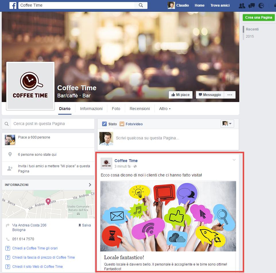 Pagina Facebook aziendale inventata sulla quale è stata pubblicata una recensione ricevuta sul Guestbook dell'hotspot WiFi di WiSpot.