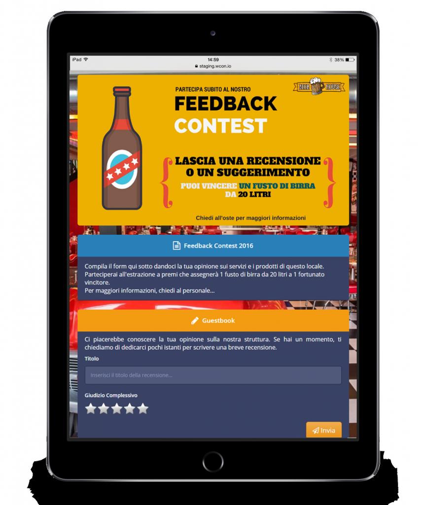 Tablet che visualizza un Guest Portal di WISpot contenente banner pubblicitari di un locale.