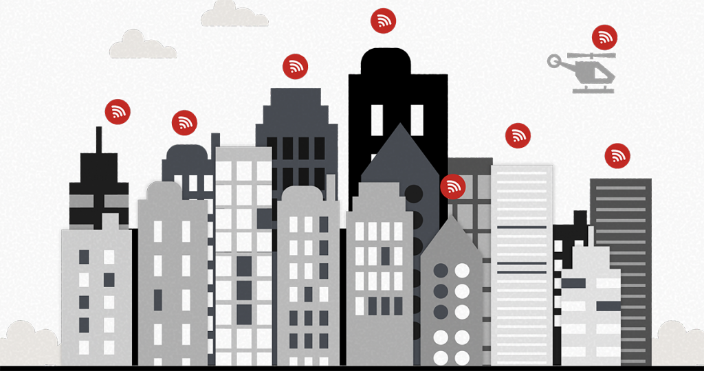 Flat design di una skyline cittadina con icone del WiFi.
