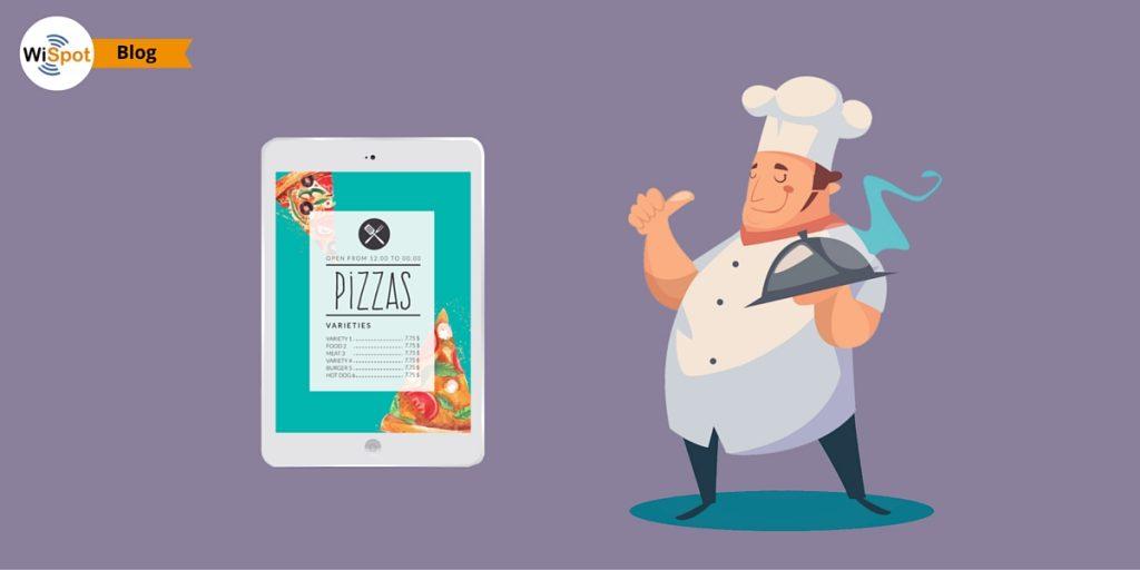 Un tablet che visualizza il menù di un ristorante e uno chef con un piatto in mano.