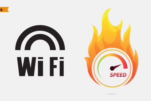 Un logo del WiFi affiancato a un indicatore di velocità che prende fuoco.