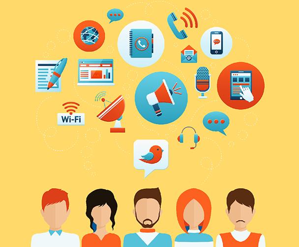 Immagine in flat design di 5 persone sovrastate da icone riguardanti tecnologia, wifi e social network.