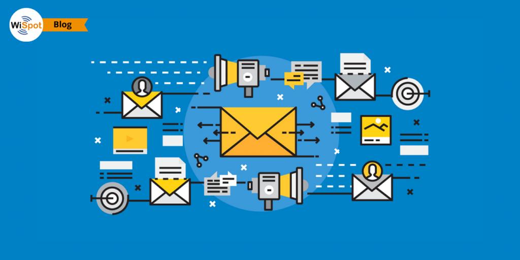 Immagine illustrativ a con icone flat rappresentanti buste e messaggi inviati a contatti email per negozi..