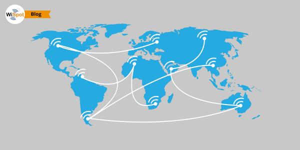 Un Atlante con raffigurati simboli di hotspot WiFi aperto al pubblico.